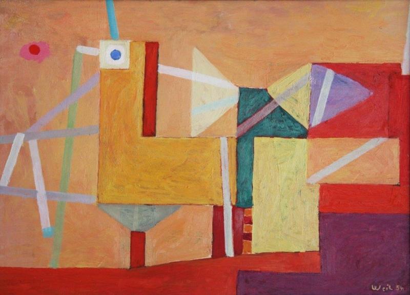 Ernst Weil, Landungssteg, 1954, 43 x 62 cm, Öl auf Hartfaser