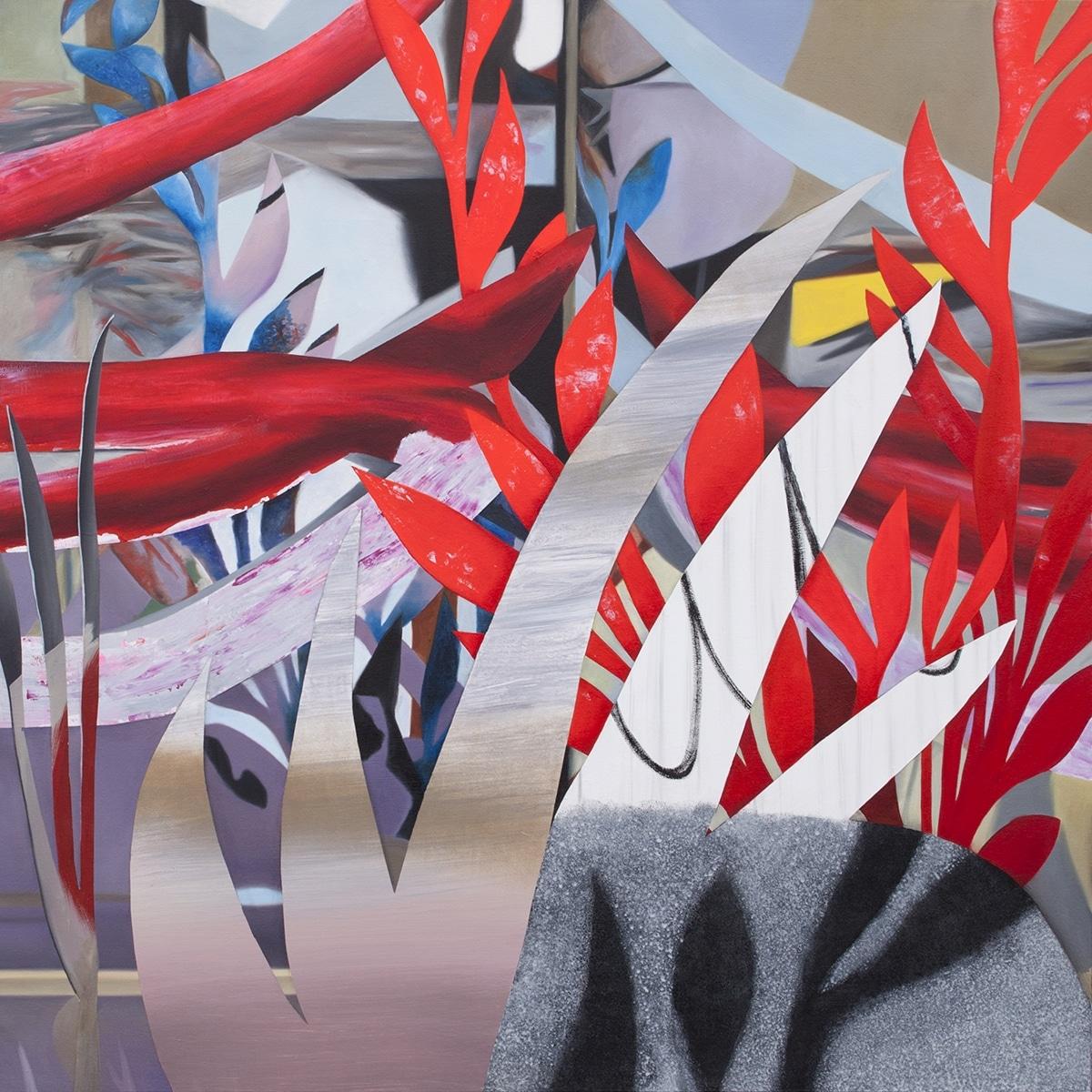 Fiona Ackerman, Red Snake, 2017, 101,5 x 101,5 cm, Öl und Acryl auf Leinwand