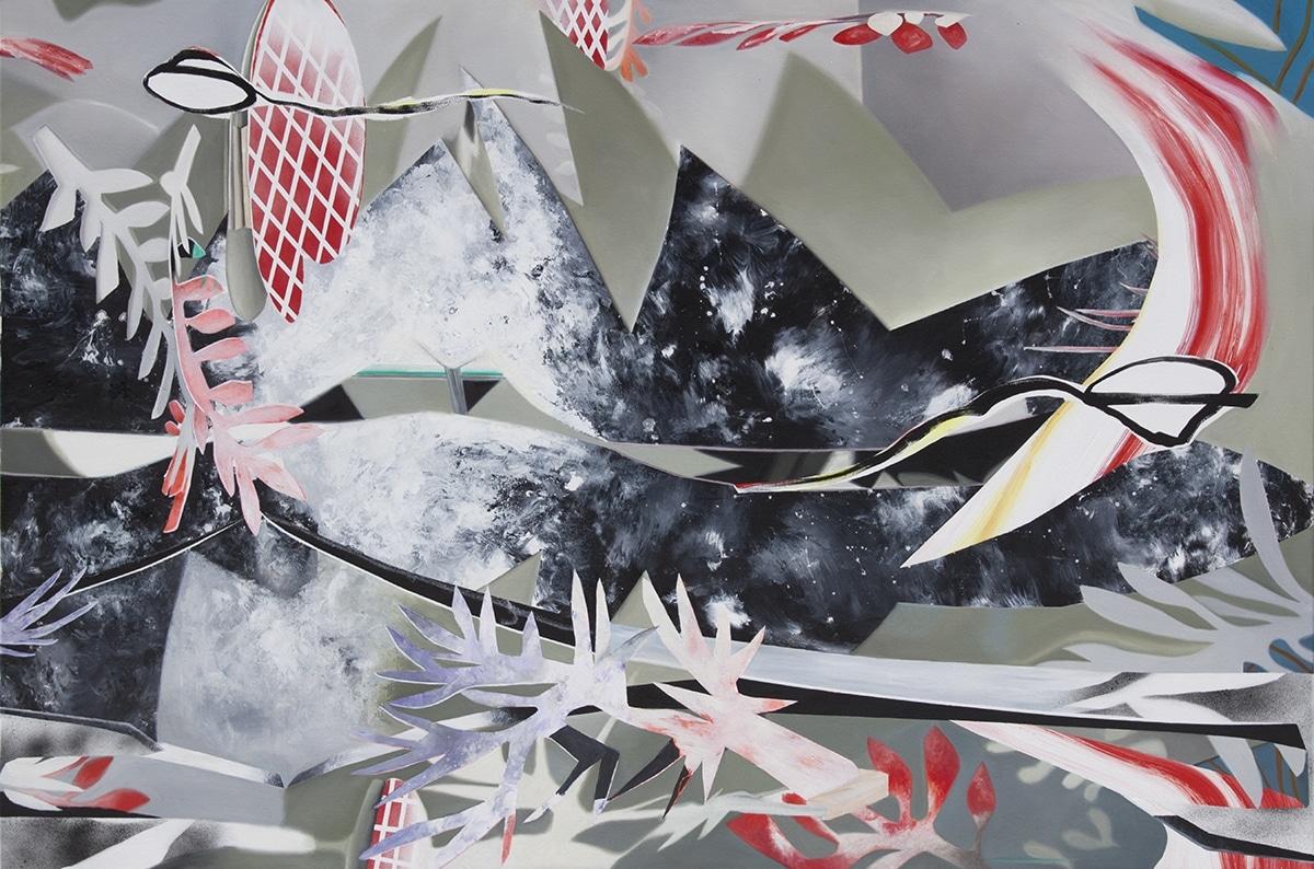 Fiona Ackerman, Greasy Lake, 2017, 110 x 165 cm, Öl und Acryl auf Leinwand