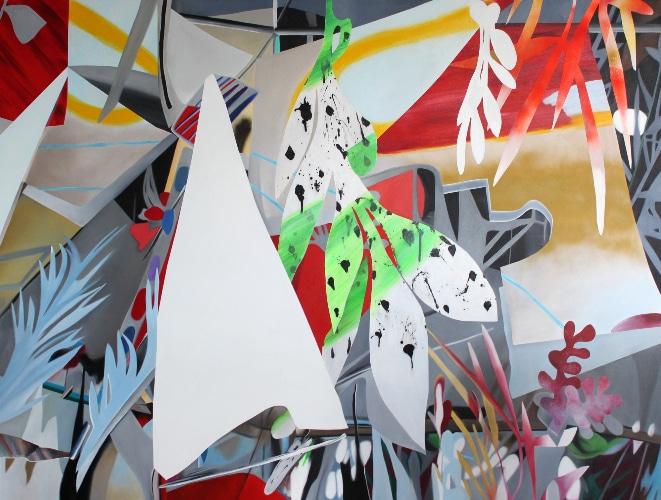 Fiona Ackerman, Corners in the Glass 2016, 225x170cm, Acryl auf Leinwand