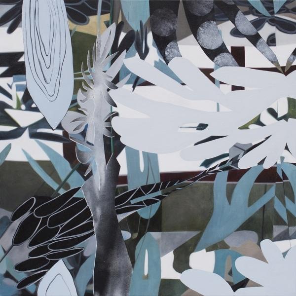 Fiona Ackerman, Victory Garden, 2017, 90,5 x 91 cm, Öl und Acryl auf Leinwand