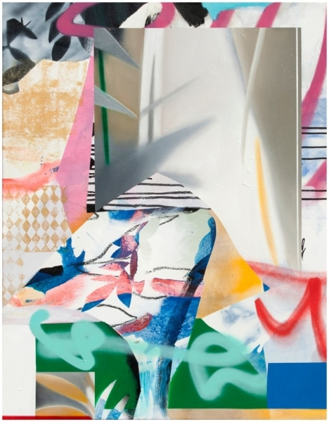 Fiona Ackerman, Yellow Wallpaper, 2017, 90 x 70 cm, Öl und Acryl auf Leinwand