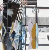 Fiona Ackerman, Studio Garden, 2017, 91 x 91 cm, Öl und Acryl auf Leinwand
