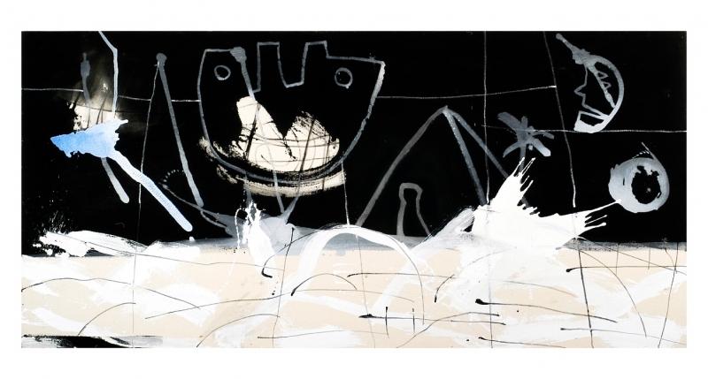 Gregor Hiltner, der Mond ist aufgegangen, 2005, 120 x 250 cm, Acryl auf Leinwand