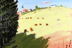 Peter Angermann, Sehners Kühe, 2008, 200 x 250 cm, Acryl auf Leinwand