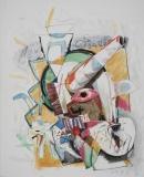 Gregor Hiltner, Einhorn, 1985,, Aquarell auf Papier, 50x41 cm