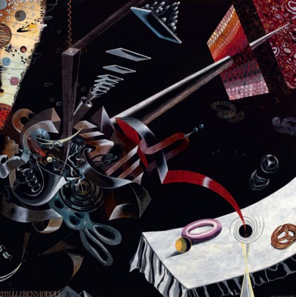 Uwe Bremer, Stillebenmoduli 2, 2006, 113 x 113 cm, Öl auf Holz