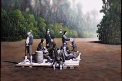 Thom. Rauchfuss, Feierabend, 2010, 140 x 200 cm, Öl auf Leinwand