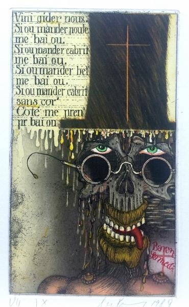 Uwe Bremer, Baron Samstag, 1989, 19x11,5cm, Farbradierung Kopie