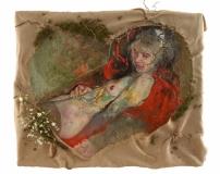 Sabina Sakoh, Erzulie, ehem. Flora, 2017, 150x180 cm, Öl auf Leinwand, Jute, Moos, Zweige, Stoffblüten, Seidenstrumpf Kopie