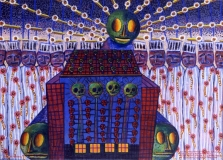 Blalla W. Hallmann, Der Gefangenenchor von Baku Buko an Beelzebub's Rechenmaschine, 1994, Acryl a. Lwd., 110x150 cm Kopie 2