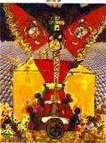 Blalla W Hallmann, Die Stammbaumsäger, 1988, Öl auf Lwd., 200x150cm Kopie 2