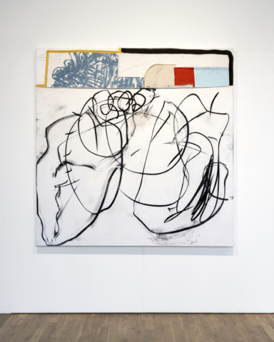 Taylor A. White Everybody Dunks on Shawn, 2018, acrylic, charcoal spray, wax crayon, fabric, paper, and sewing on canvas, 165 x 165 cm